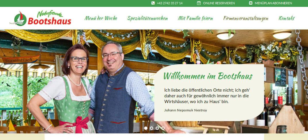 Startseite der Webseite des Bootshaus' St. Pölten